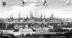 View of Lubeck by Matthaus Merian the Elder