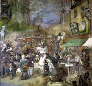 Decorative panel depicting Paris Salon de la Commission du Personnel by Adolphe Leon Willette