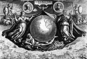 Discovery of America with portraits of Amerigo Vespucci and Christopher Columbus by Jan van der Giovanni Stradano Straet