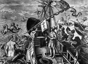 Christopher Columbus on board his caravel discovering America by Jan van der Giovanni Stradano Straet