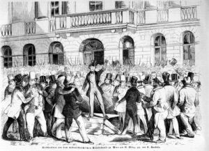 Revolt in Vienna 1848 illustration from 'Illustrierte Zeitung' by German School