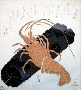 Langoustine with a Block of Charcoal c.1830 by Toyota Hokkei