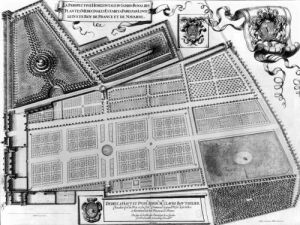 Plan of the Royal Garden of the Medicinal Plants in Paris 1641 by French School