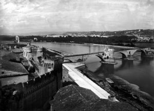 View of St. Benezet Bridge and the City Walls Avignon by French School