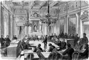 Members of the Commune in session at the Hotel de Ville Paris 1871 by Auguste Victor Deroy
