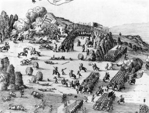 General view of the battle of Muhlberg, 1547 (Detail) by German School