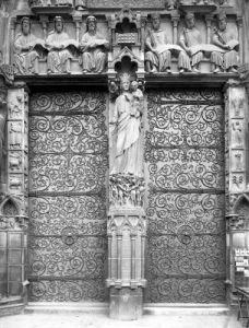 Facade of Notre-Dame left portal Paris by French School