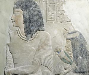 Relief depicting Imenmes and Dejat the parents of General Imeneminet by Egyptian Art