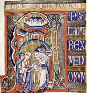 Historiated initial depicting Judith with the head of Holofernes by French School