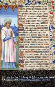 Text of the Magnificat with a portrait of Baruch by French School