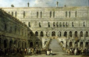 The Coronation of the Doge of Venice on the Scala dei Giganti of the Palazzo Ducale 1766 by Francesco Guardi