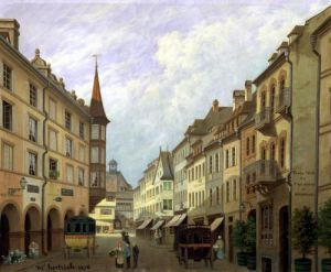 The Arcades Grand Rue Colmar 1876 by Michel Hertrich