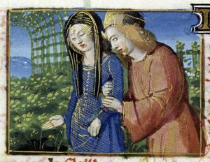 Ms 134 May' Courting Couple from a Book of Hours by French School