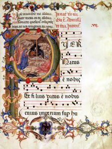 Historiated initial 'P' depicting the Nativity from a gradual and antiphon by Italian School