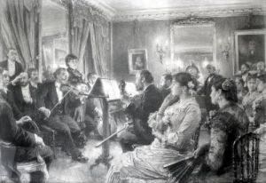 The Musical Evening at the House of Amaury Duval 1881 by Leon Augustin L'Hermitte