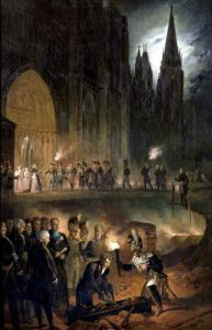 Transferring the Bones of the Royal Family to the Church of St. Denis by Francois Joseph Heim