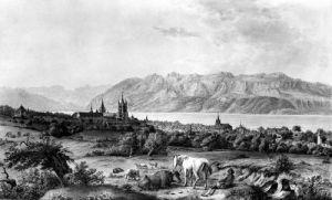 View of Lausanne by Johann Ludwig Aberlin