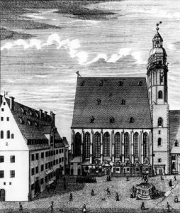 St. Thomas Church and School in Leipzig 1723 by Johann Gottfried Krugner
