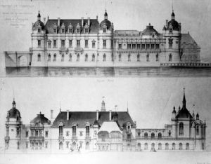 Design for the reconstruction of the Petit Chateau of the Chateau de Chantilly 1875 by Pierre Daumet