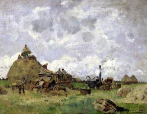 The Threshing Machine by Edmond Charles Yon