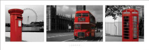 London (Red Tripych) by Slim