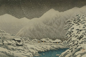 Landscape under snow, ukiyo-e print, 1924 by Kawase Hasui