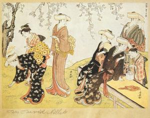 Women in kimonos picking flowers in a garden by Torii Kiyonaga