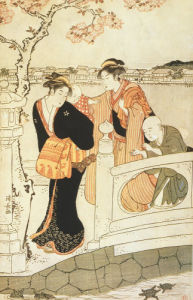 Family crossing a Bridge by Torii Kiyonaga