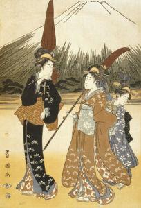 Walking towards Fujiyama, c.1765 by Suzuki Harunobu