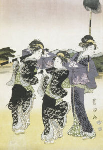Women of fashion walking by Suzuki Harunobu