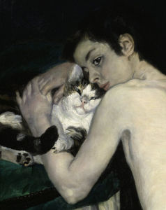 Boy with cat, 1868 (Detail) by Pierre Auguste Renoir
