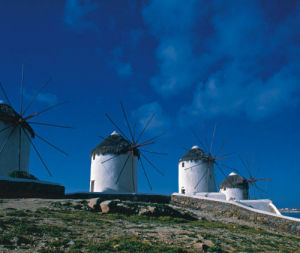 Windmills in Mykonos, Greece by Danita Delimont