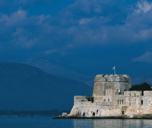 Bourtzi castle in the Harbour of Nafplio, Greece by Danita Delimont