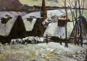 Village breton sous la neige, 1889 by Paul Gauguin