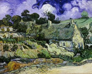 Chaumes de Cordeville à Auvers-sur-Oise, Thatched cottages in Cordeville, 1890 by Vincent Van Gogh