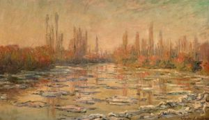 Thawing of river Seine, or ice floe breaking up, near Vétheuil, France, 1880 by Claude Monet