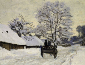 Cart, the Honfleur road under snow, with Saint Simeon farm, c. 1867 by Claude Monet