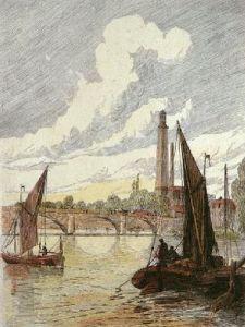 Kew Bridge (Restrike Etching) by Gordon
