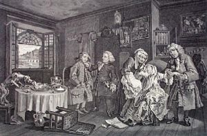 Marriage a La Mode - Pl. VI (Restrike Etching) by William Hogarth
