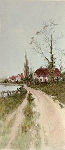 Cottage by Pool (Restrike Etching) by John Alfred Vintner