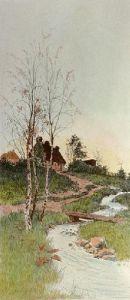 Cottage by Stream (Restrike Etching) by John Alfred Vintner