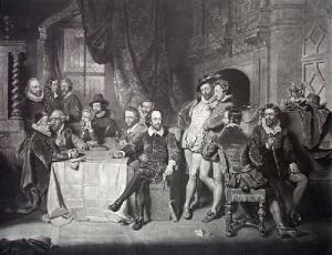 Shakespeare & His Contempories (Restrike Etching) by Anonymous