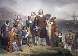 Landing of the Pilgrim Fathers (Restrike Etching) by Charles Lucey