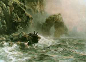 Lashing Waves & Sea Birds Cry (Restrike Etching) by Peter Graham