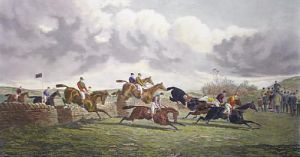 The Stone Wall, Punchestown (Restrike Etching) by Sturgess