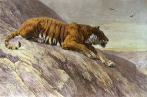 Watcher On the Hill (Tiger) (Restrike Etching) by Herbert Thomas Dicksee