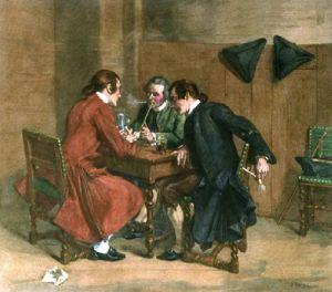 Three Smokers (Restrike Etching) by Jean-Louis Ernest Meissonier