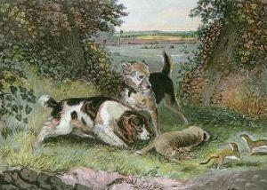 Poachers Disturbed (Restrike Etching) by John Frederick Lewis