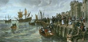 Sailing of the Mayflower 1620 (Restrike Etching) by Forestier