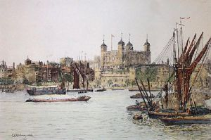 Tower of London (Restrike Etching) by Charles Edward Holloway